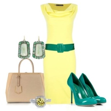 celadon accessories to yellow dress