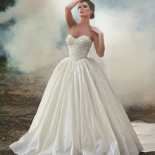 vestido de casamento de tafetá magnífico
