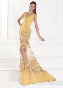 Vestido de noite amarelo de Tarik Ediz