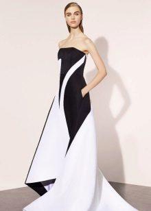 Vestido de noite branco e preto