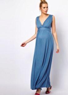 Синя сватбена рокля за майчинство