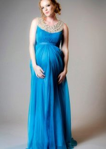 Тюркоазена сватбена рокля за майчинство