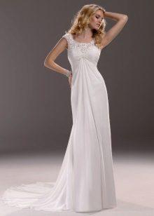Сватбена рокля с влак за бременни