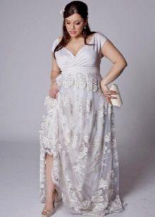 Vestit de núvia d'estil imperial amb la faldilla de puntes