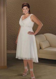 Vestit de núvia curt per a núvies completes a l'estil Imperi