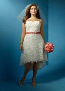 Vestit de núvia frontal curt, de llarg per a núvies completes