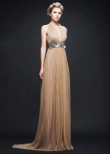 Beige evening dress
