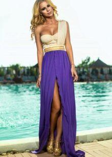 Beige with purple dress