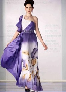 Purple dress with white and yellow