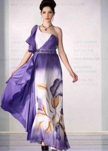 Fialové šaty s bílou a žlutou