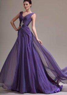 Purple evening dress flying