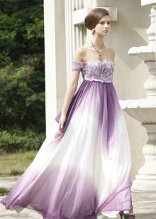 Večerní šaty - bílé s fialovým