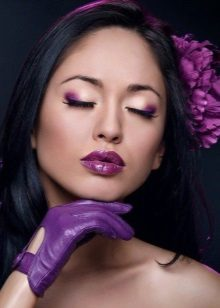 Makeup with purple shadows