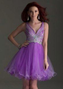 Nádherné krátké večerní lilac šaty
