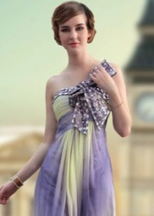 Evening purple dress with bow