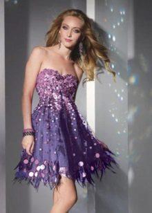Večerní lila šaty s flitry