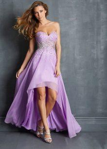 Pakaian malam lilac pendek, belakang panjang