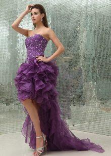 Pakaian malam lilac pendek, panjang belakang hi rendah