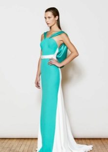 White and turquoise evening dress