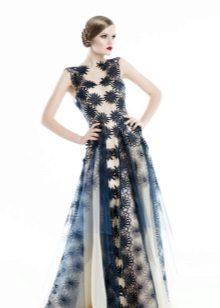 Guipure vestido de noite de corte simples