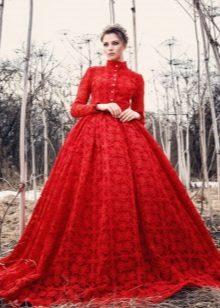 Vestido de noite vermelho fofo guipure