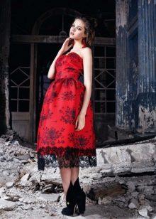 Vestido Vermelho Midi Evening Com Laço