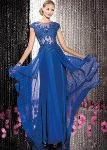 Vestido de noite azul da guipura