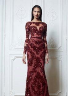Bainha Vestido Borgonha com Renda