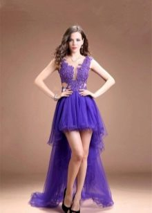 Lilac evening dress short front, long back
