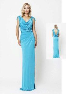 Blauwe avondjurk in de Griekse stijl
