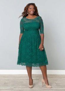 Avond groene jurk voor volledige korte kant