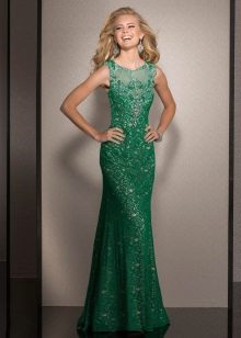 Evening green dress with lace top