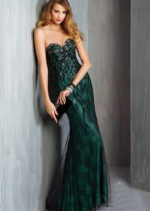 Dress green evening with lace