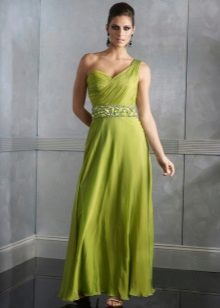 Evening floor dress in green