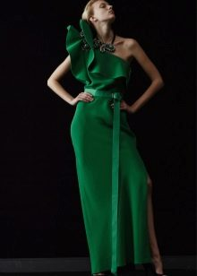Evening green dress with frill
