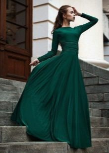 Evening dress green closed