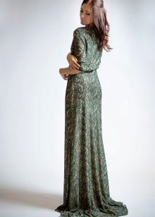 Evening green dress in nude style