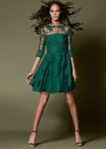 Short lace evening green dress