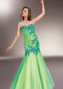 Green beautiful evening dress