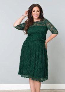 Donkergroene jurk voor vol