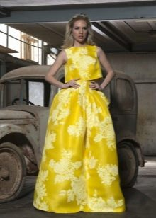Evening yellow suit with top and skirt