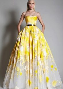 Fluffy evening dress yellow