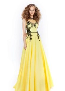 Yellow evening dress with black pattern