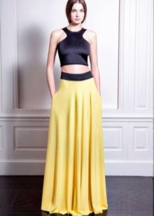 Evening dress with yellow skirt