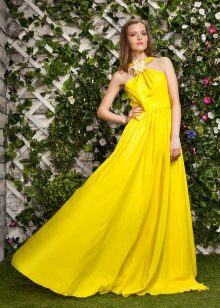 The dress is evening yellow and-shaped