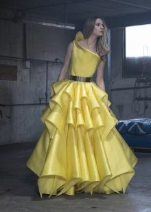Fluffy evening dress yellow by Isabel Sanchez