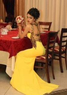 The dress is evening yellow