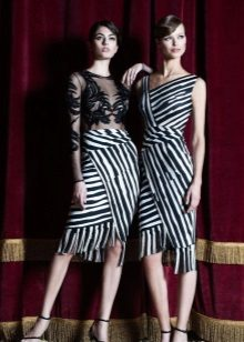 Black and White Striped Evening Dress