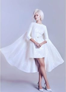 Closed evening dress white with sleeves