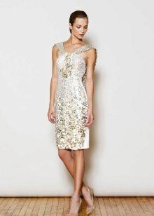 Rochie de seară scurtă albă cu pietre